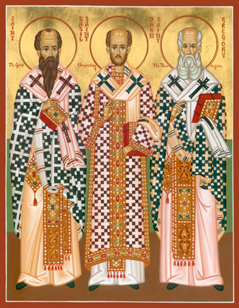 THE THREE HIERARCHS: SAINT BASIL THE GREAT, SAINT GREGORY THE THEOLOGIAN AND SAINT JOHN CHRYSOSTOM