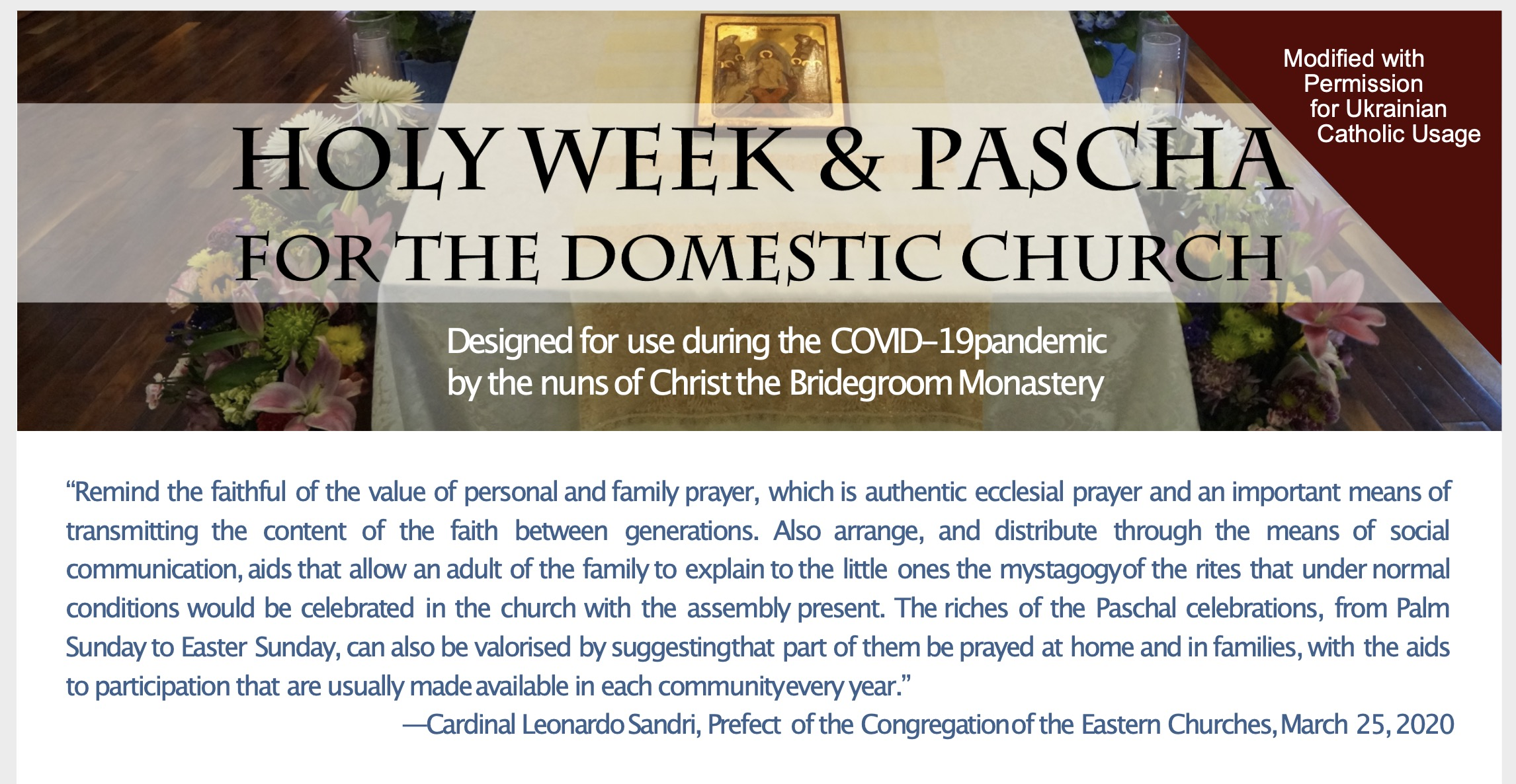 Domestic Church: Helpful Guide for Holy Week and Pascha (Easter)